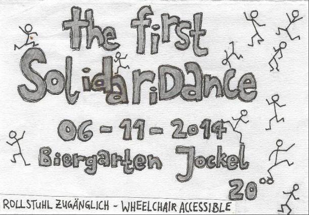 frontside of a flyer for the first S o L i D a R i D a n C e at Jockel at 6th of november 2014
