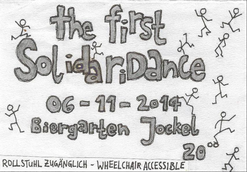 frontside of a flyer for the first S o L i D a R i D a n C e at Jockel at 6th of november 2014
