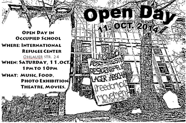 Flyer for an Open Day at International Refugee Center on Ohlauer Strasse
