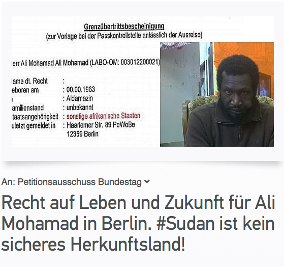 picturec of petition against deportation of Ali Mohamad