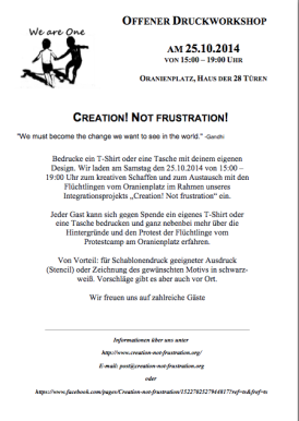 Flyer für einen Workshop zum Drucken t-shirts auf dem Oranienplatz am 25.10.2014 von 15:00 bis 19:00