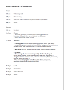 picture of the time schedule of the refugee conference 14th - 16th of November