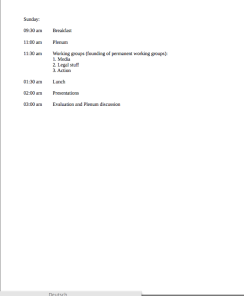 picture of the time schedule of the refugee conference 14th - 16th of November (second page)