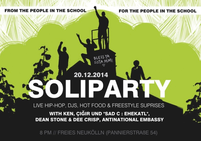 flyer for a soli party from + for the people of the school