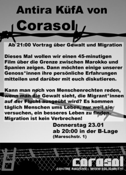 picture of a flyer for Corasol's solidarity cooking +  film screening and discussion on the violent situation at the European Moroccan border
