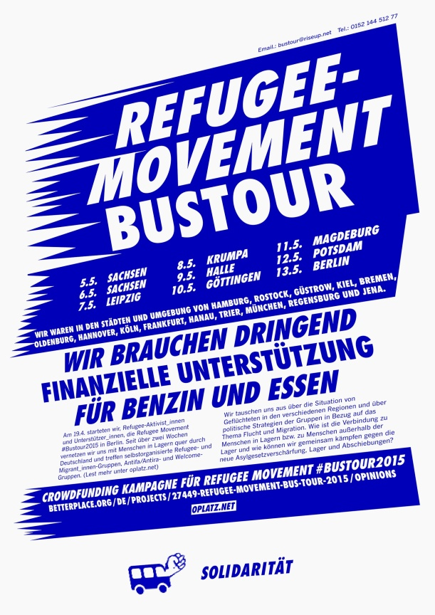 Flyer for the crowdfunding campaign in support of the refugee movement bus tour