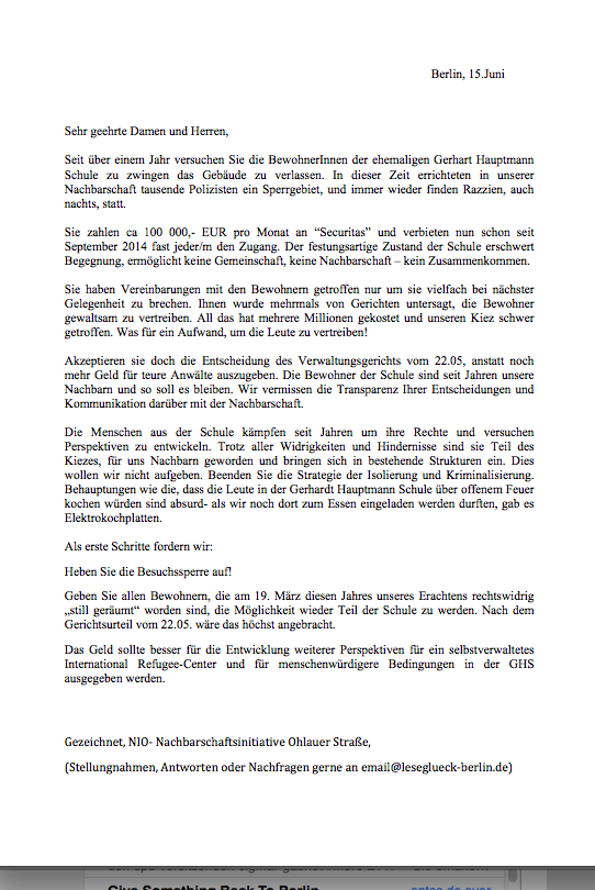 letter to the district by a neighbours group from Ohlauer Str.