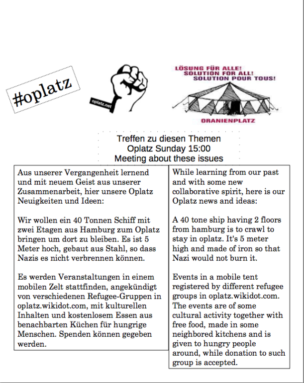 flyer to have meetings on Oplatz each Sunday 3PM