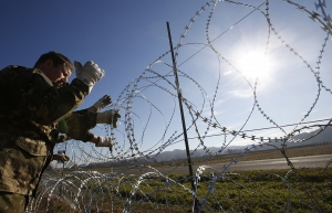 barbed wire fence along the Slovenia's border
