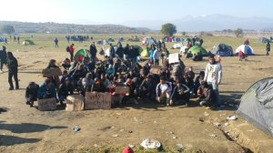 Refugee protest at Eidomeni
