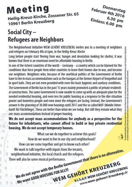 Social city Refugees are Neighbors